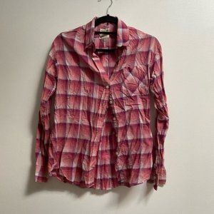 AEO Boyfriend Fit Plaid Shirt Pink